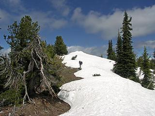 Drifted ridge to the summit, some drifts were still 10' high.