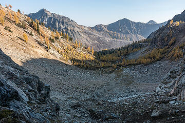 gully shortcut into another larch basin