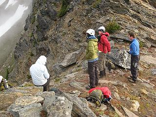 Group at the notch, looking down the gully