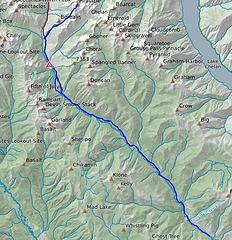 map of route including road ski