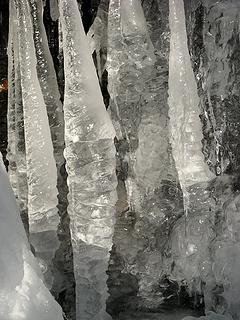 Icicle columns close-up