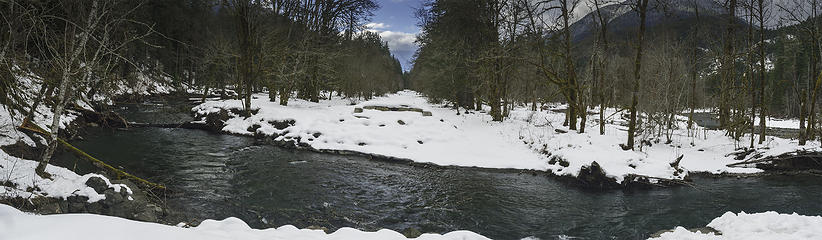 The new east branch of the Elwha River is on the left and the main west branch of the Elwha is on the right side of the image.  The currently closed-to-vehicles Olympic Hot Springs Road extends south in the middle of this image.
