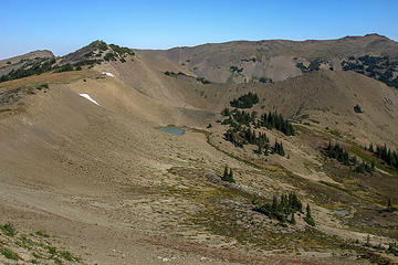 Tarns below trail on Obstruction Ridge
