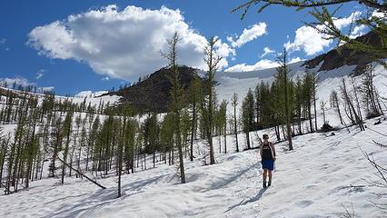 Descending snow below Shellrock Pass