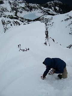 Yana descending the summit pitch