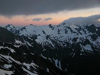 Evening light above Despair, Mystery Ridge, & Pioneer Ridge