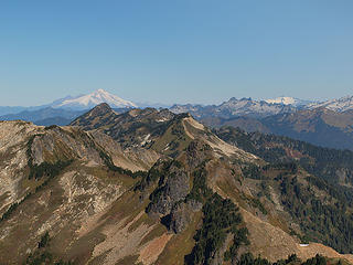 Baker, Chaval, and Shuksan from Point 6914' (Fire Mountain and Lime Ridge In Foreground)