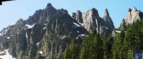 Wilman's Spires and Columbia Peak from Glacier Basin