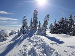 deep snow on top