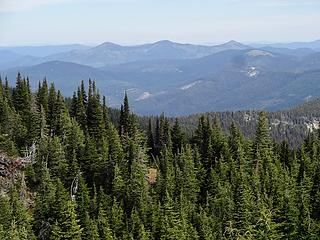 These peaks are called Three Sisters. Middle Sister is the highest at 6898' where an historic lookout stands.