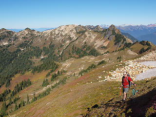 Descending Back to Camp (Fire Creek Pass and Fire Mountain in Background)