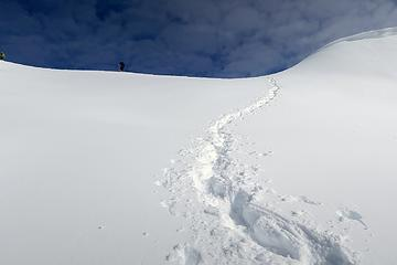 Snowshoer on the crest