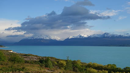 Road to Mount Cook village along Lake Pukaki
