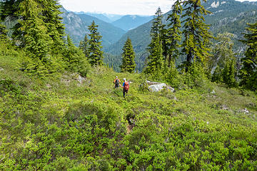 Descending on small way trail to the Angline Lake outlet