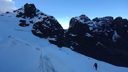 Working our way up the lower glacier