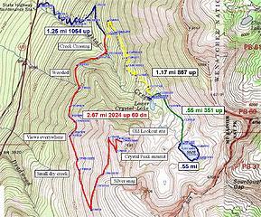 Crystal Peak/Lakes area map.