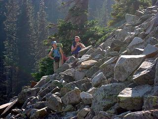 Rising on talus to Cindy's shores
