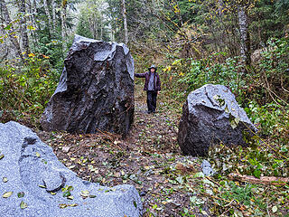 Rock fall on the Middle Fork road at ~MP19