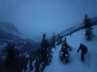 Skiing down Willow Creek