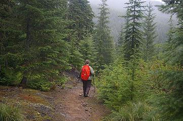 A hiker on Stirrup Lake trail