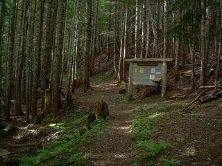 Trailhead sign in the woods