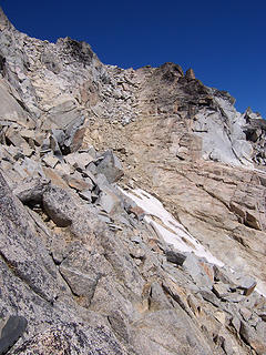 Upper section of gulley going to False Summit.