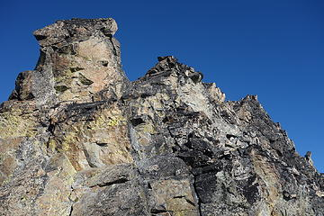 Scrambling terrain on east side of south ridge