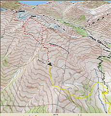 3D map Clark/Luahna route map (yellow line is approach, red line is summits)