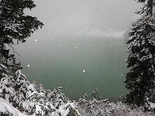 Snowing at Blanca Lake