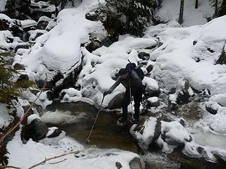Jim crossing Dick Creek
