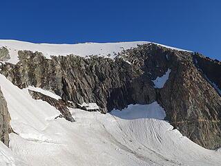 Summit snowfield above