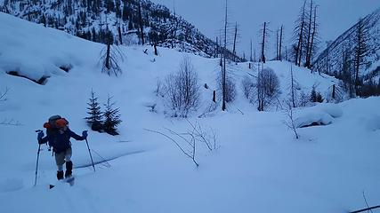 skiing up the Methow River