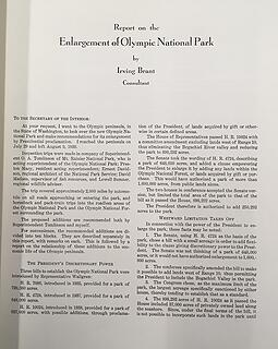 Report on Enlargement of Olympic National Park Irving Brandt 1938 01