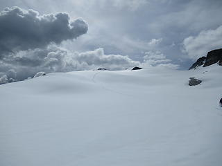 our tracks and incoming clouds