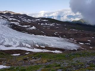Easton Glacier terminus, clouds rolling in