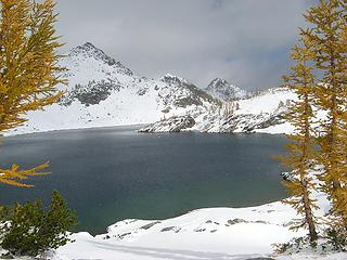 Snowflakes over the lake