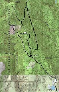 Map of route, just one mile (although we went much further double checking everything on the ridge).