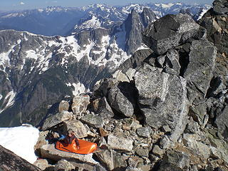 Fay's bivy spot on the summit of E Fury.  This was one of the most scenic spots I've ever spent the night.