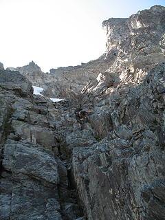 Down climbing the E Ridge.