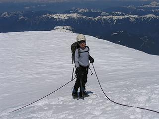 Aidan on the warm trudge across the summit plateau