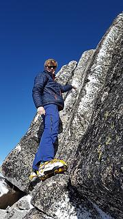 Jake scrambling the summit block