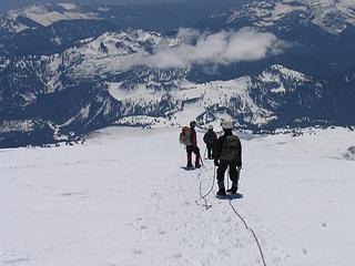 Descending across the summit plateau