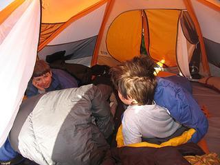 Enjoying the comforts of camp