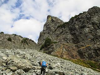 heading up the talus