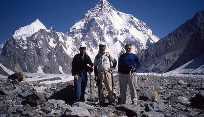 K2 from somewhere near Concordia, this is the three paying trekkers, me in the middle. I think we did the trip in July