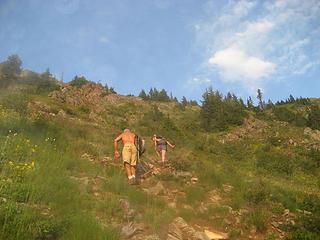 Shirtless dude going up Kendall Peak.