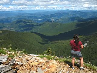 Martha looking north into Canada from the summit of Abercrombie.