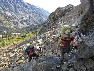 Working hard to gain the ridge