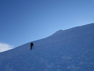 On easier slopes near the summit
