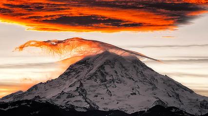 Wind swept sunrise on Mount Rainier as seen from Bonney Lake